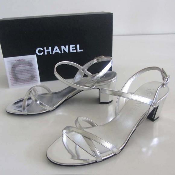 New Chanel Cc Metallic Silver Sandals